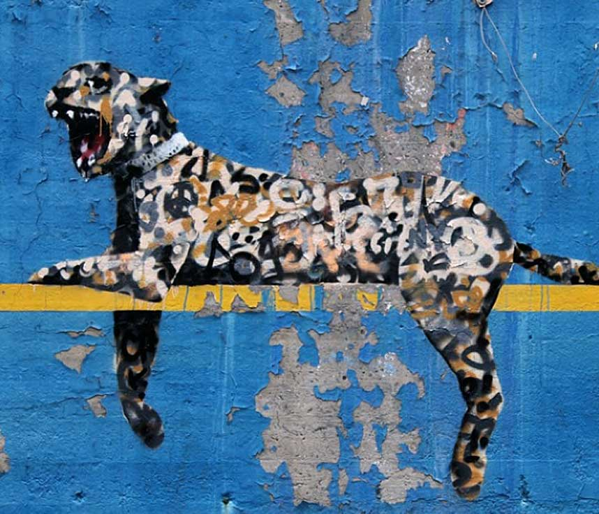 11. Работа «Зоопарк Бронкса» - еще одно произведение Бэнкси, которое появилось на стадионе Янки в Нью-Йорке. Некоторые из его американских работ были проданы арт-дилерами в аукционных домах.
