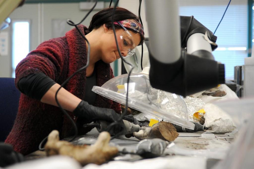3. Кортни из Аляскинского университета в Фэрбенкс исследует образцы моржовой кости, найденные в ходе археологических раскопок. Исследования проводятся в научно-исследовательском центре Барроу.