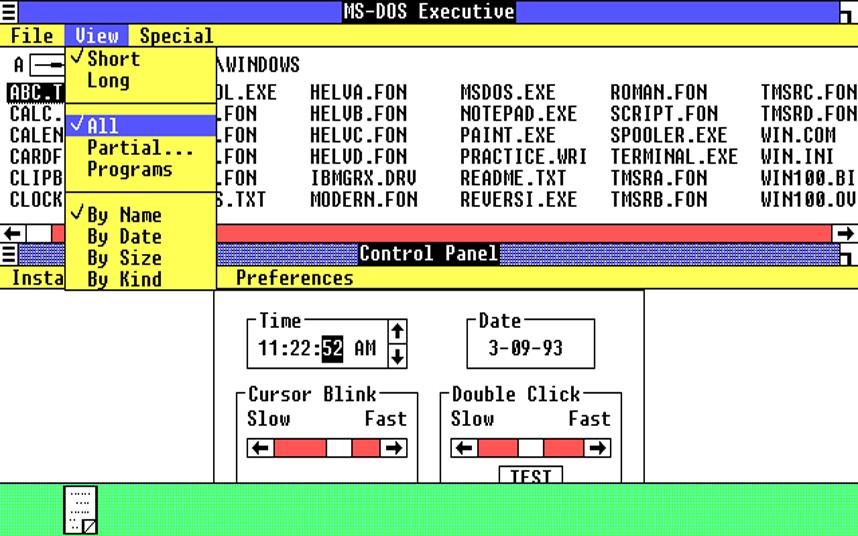 1. Windows 1. Первая версия Windows имела цветной 16-битный интерфейс и весила меньше 1 МБ. Многие основные программы того времени мы используем до сих пор. Это блокнот, буфер обмена и Write – текстовый редактор похожий на Wordpad. Также были часы, календарь и игра Реверси.