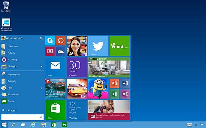 12. Microsoft решила не выпускать Windows 9 и прыгнула сразу к 10 версии. Представленная в сентябре 2014 года Windows 10 имеет два режима. Один – для сенсорных устройств, другой для ПК. Также вернулось меню пуск.