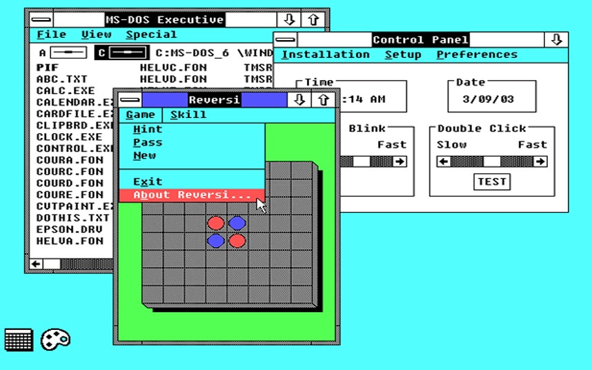 2. Windows 2. Именно в этой версии появились Excel и Word. Появился оконный режим приложений.