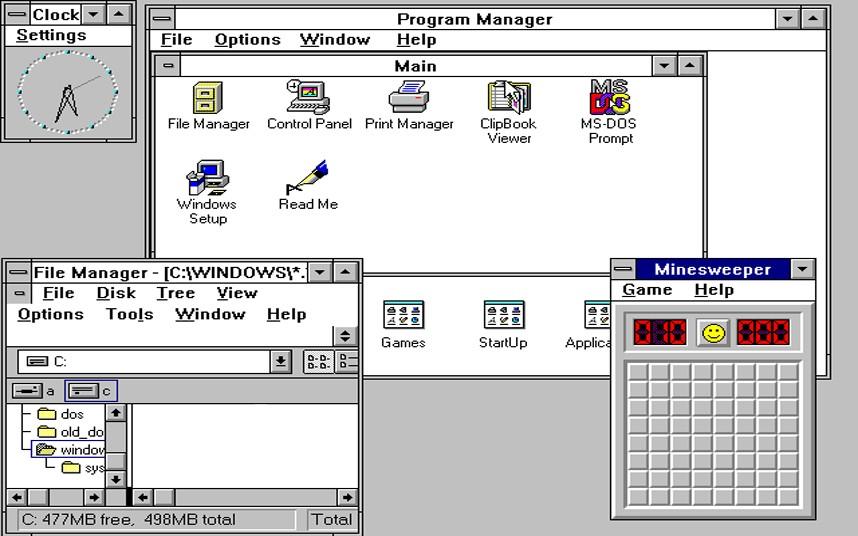 3. Windows 3 – крупнейший релиз операционной системы Windows состоявшийся 22 мая 1990 года. Интерфейс новой операционной системы составил конкуренцию Apple Macintosh. Операционная система имела файловый менеджер и диспетчер программ, как и у современных версий Windows. Через несколько месяцев операционная система стала поддерживать CD-ROM и звуковую карту.