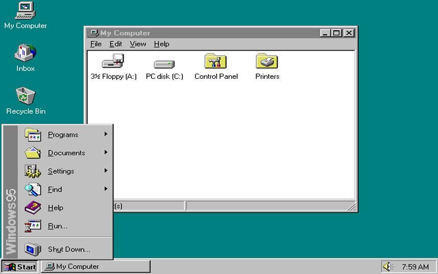 4. Windows 95. Под кодовым названием Чикаго, Windows 95 получила графическую оболочку, поддержку интернета, а также технологию Plug and Play (включи и играй). Теперь подключать новое оборудование стало гораздо проще.