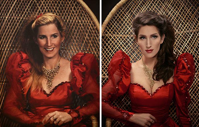 13. Мать и дочь в одном и том же платье.