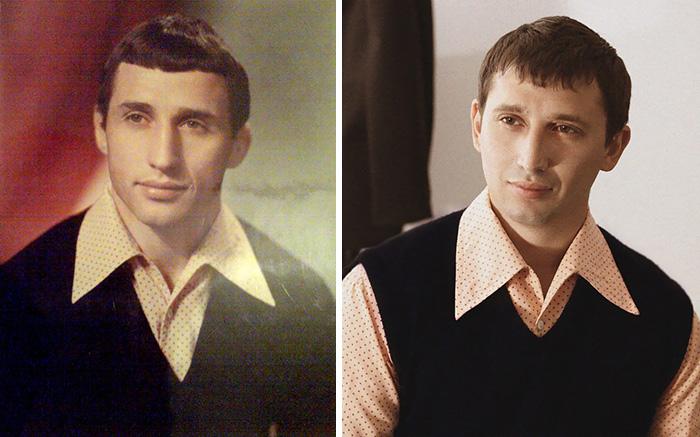 3. Отец и сын. Тот же возраст и такая же рубашка.