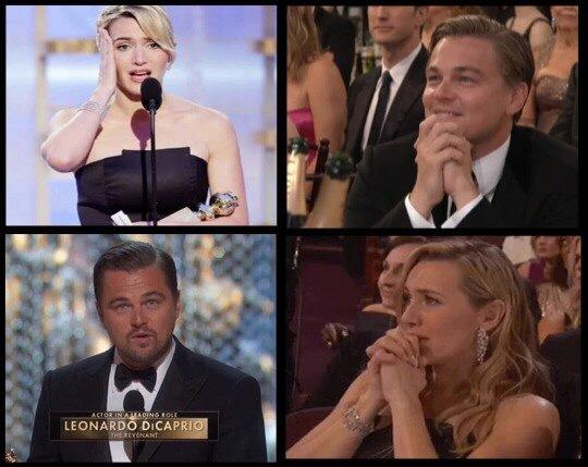 5. Кейт Уинслет болеет за Лео. Кстати, после вручения Оскара Ди Каприо, зал аплодировал стоя.