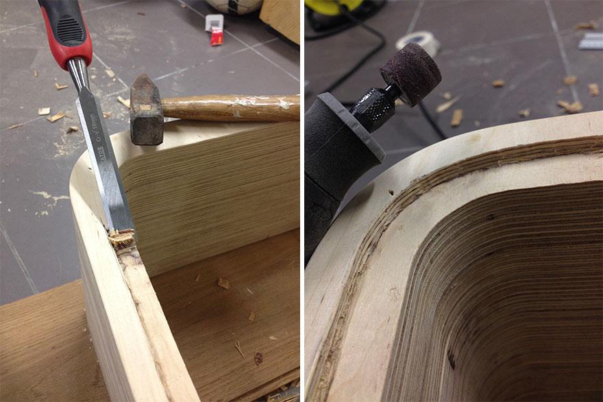 4. «Затем нужно было подготовить края для боковых панелей. Я использовал для этой цели зубило и молоток, а потом отшлифовал края при помощи дремеля».
