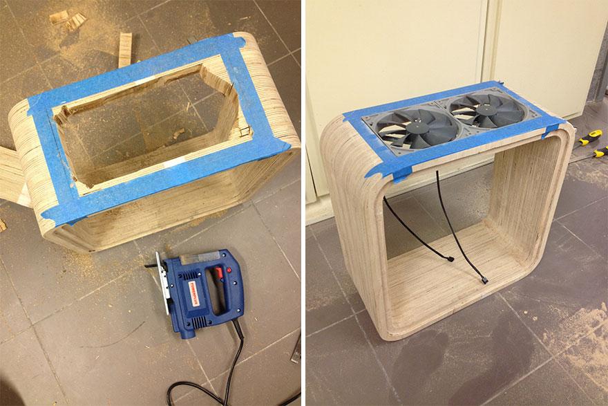 5. «После этого я установил две пары вентиляторов: внизу и вверху системного блока. Таким образом воздух в корпусе могу циркулировать естественным образом – снизу вверх, эффективно охлаждая при этом все внутренние компоненты».