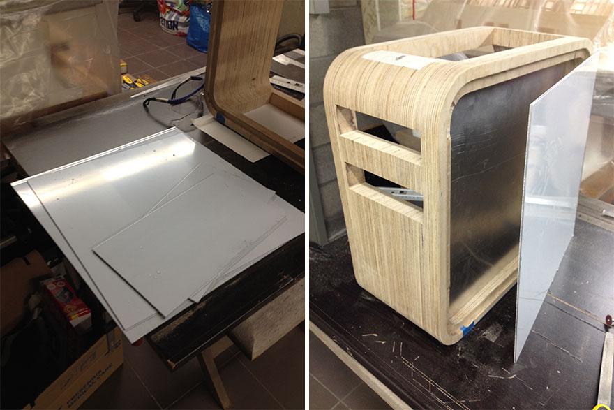7. «С правой стороны корпуса я прикрепил алюминиевую пластину в качестве внешней боковой крышки».