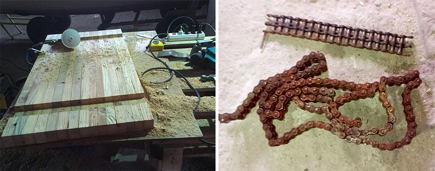3. Затем они вырезали в столешнице два углубления для ножек стола. На каждую ножку было использовано по 2 метра цепи от подъемного механизма.