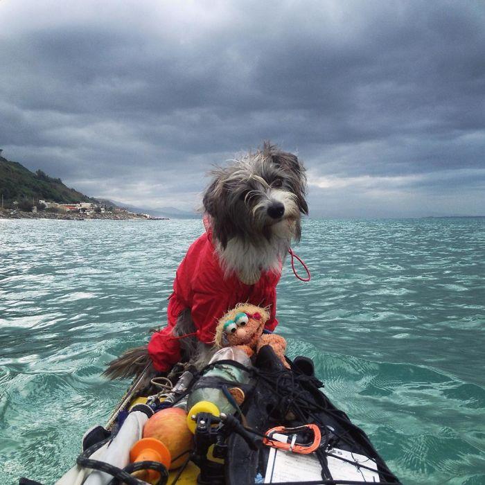 2. Sergi бросил работу, взял каяк и отправился в путешествие по морю.