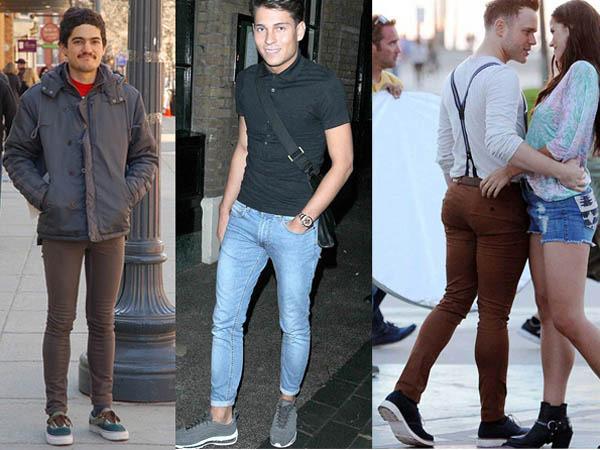 2. Узкие джинсы. Оставьте эти джинсы для девушек. Даже если у вас красивые ноги, лучше носить джинсы прямого кроя или слегка зауженные.