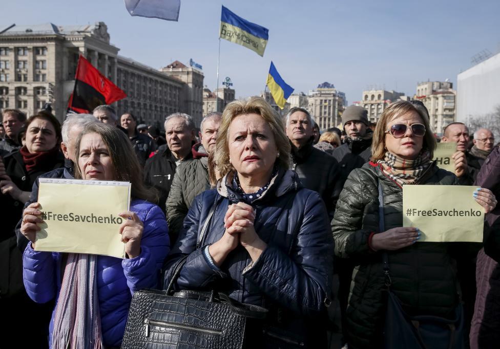 5. В Киеве перед оглашением приговора прошли митинги с призывом освободить военнослужащую.