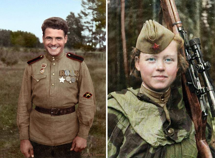 55. Артиллерист, 1940 год (слева) и советский снайпер Надежда Колесникова, 1943 год.