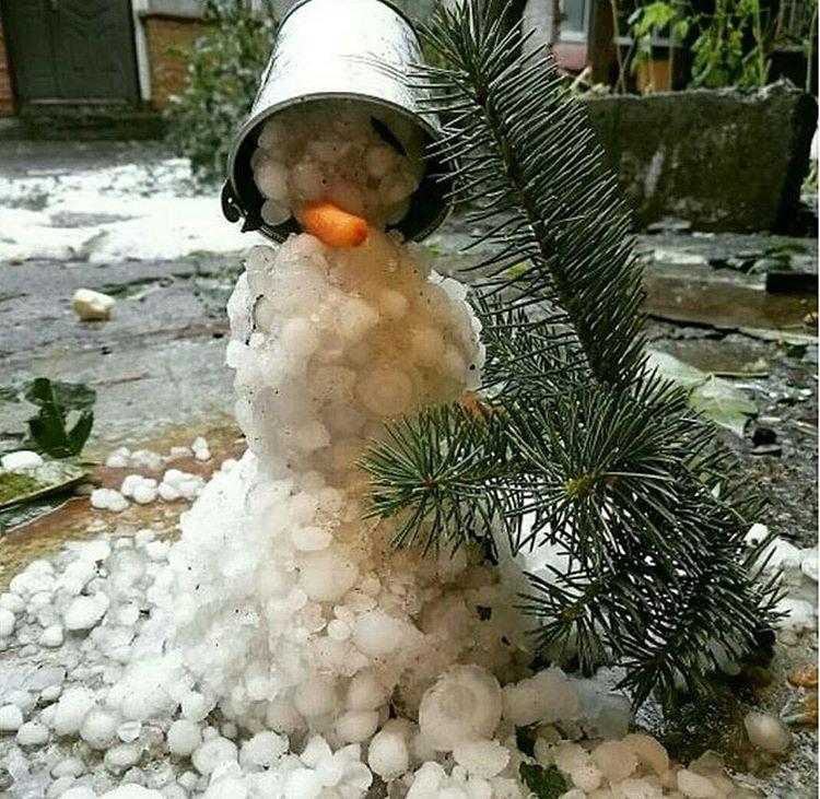 17. Во Владикавказе этим летом появились вот такие снеговики из крупных градин.
