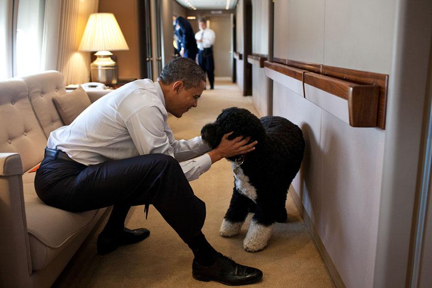 19. Обама и его пес Бо.