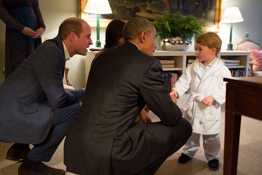 7. Барак Обама, Мишель Обама, принц Уильям и маленький принц Георг.