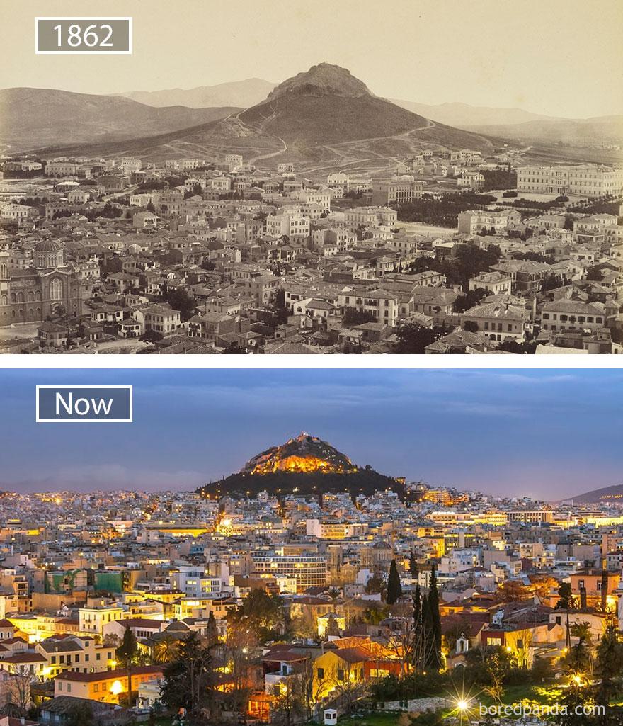 10. Афины, Греция, в 1862 году и сейчас.