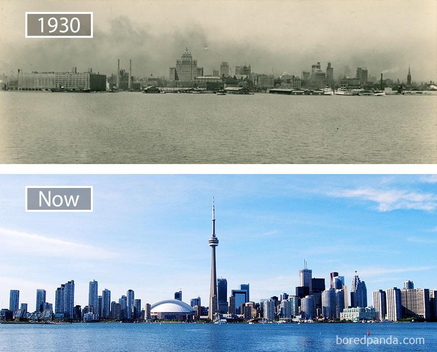 12. Торонто, Канада, в 1930 году и сейчас.
