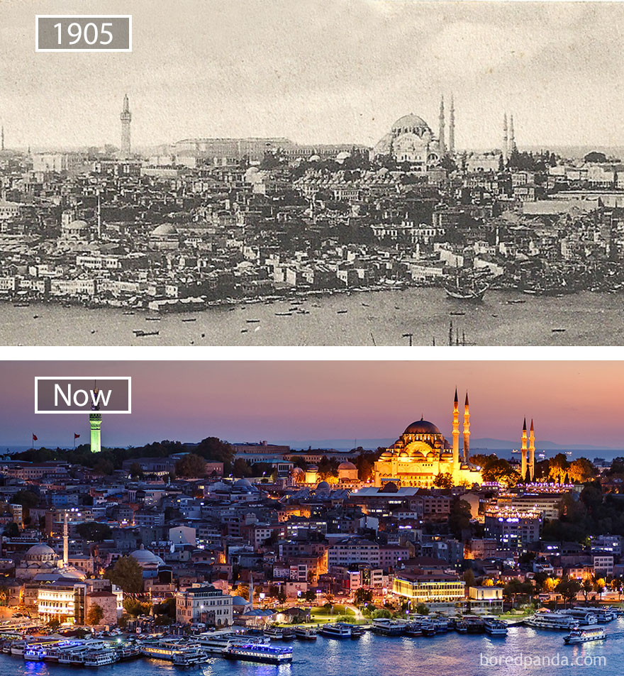 14. Стамбул, Турция, в 1905 году и сейчас.