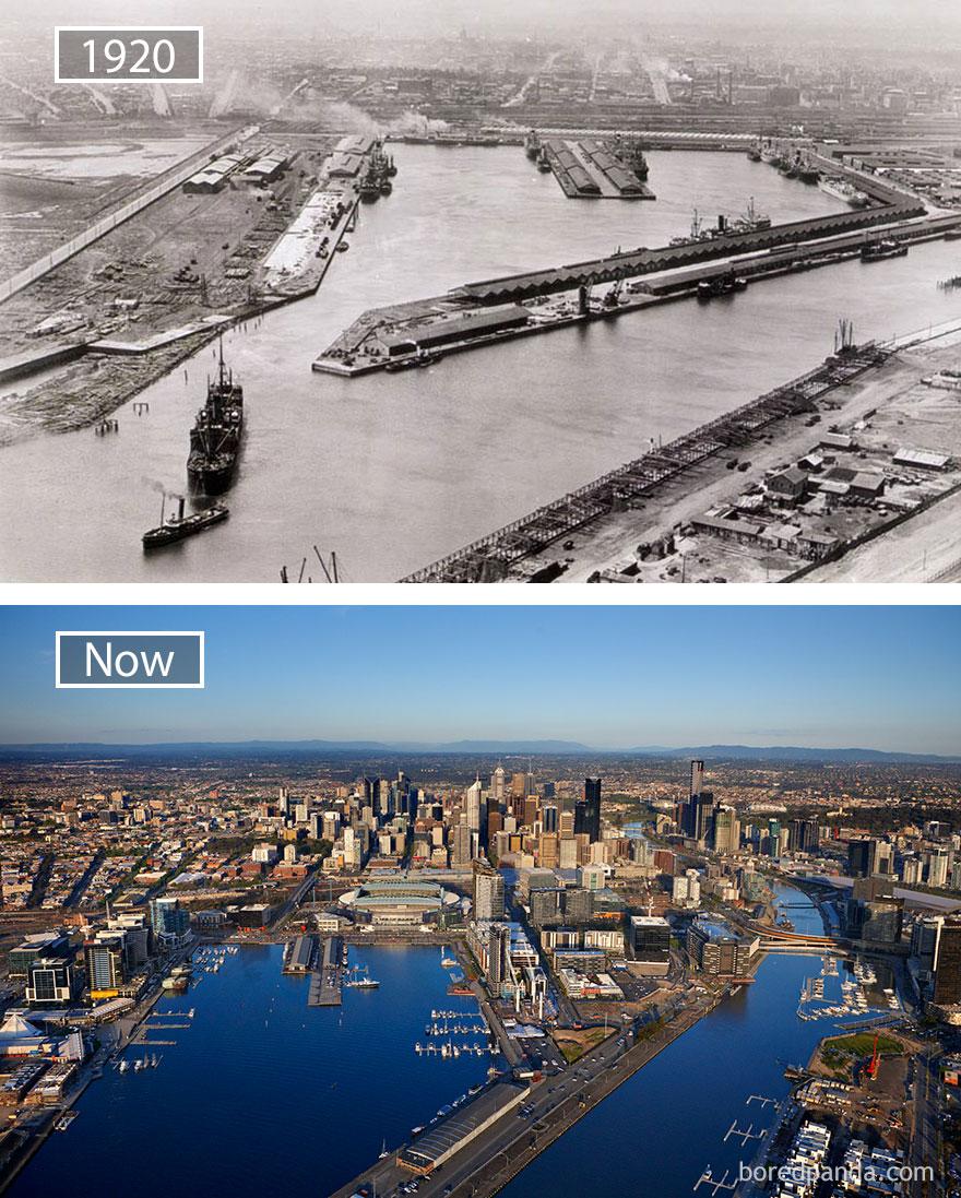 15. Мельбурн, Австралия, в 1920 году и сейчас.