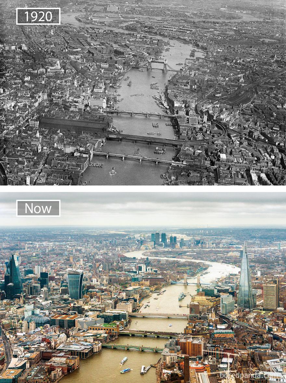 16. Лондон, Великобритания, в 1920 году и сейчас.