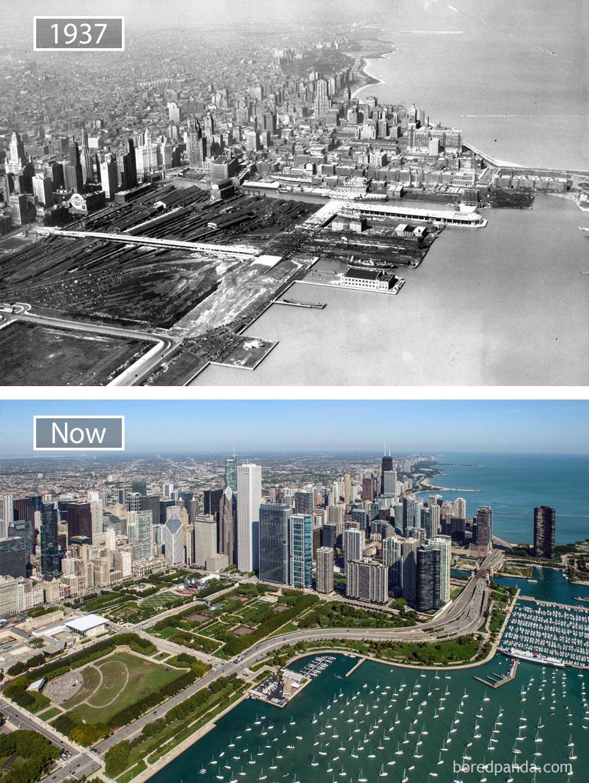 17. Чикаго, США, в 1937 году и сейчас.