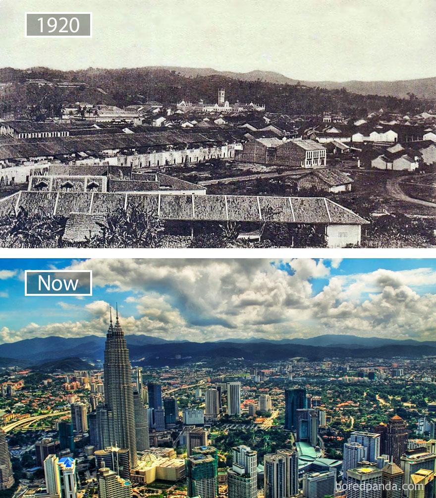 18. Куала-Лумпур, Малайзия, в 1920 году и сейчас.