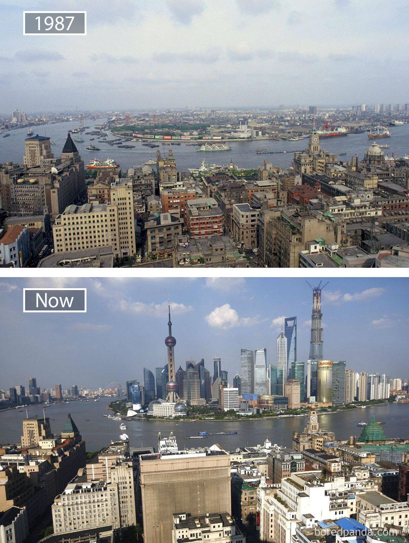 19. Шанхай, Китай, в 1987 году и сейчас.