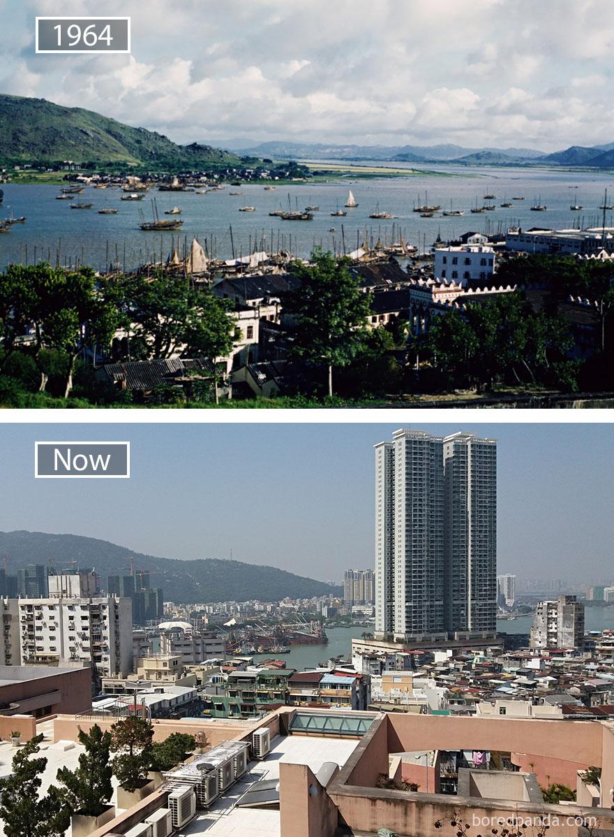 20. Макао, Китай, в 1964 году и сейчас.