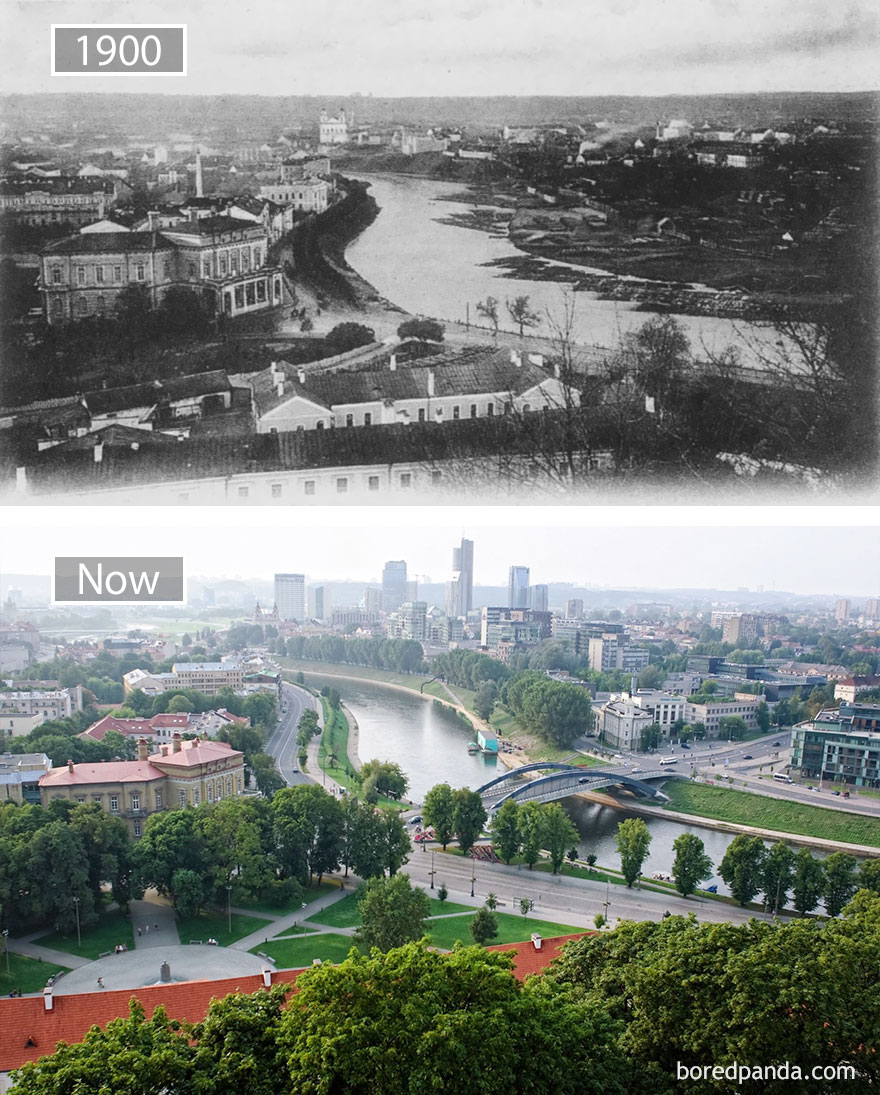 3. Вильнюс, Литва, в 1900 году и сейчас.