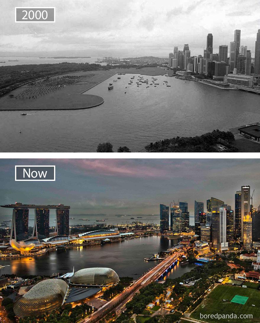 4. Сингапур, республика Сингапур, в 2000 году и сейчас.