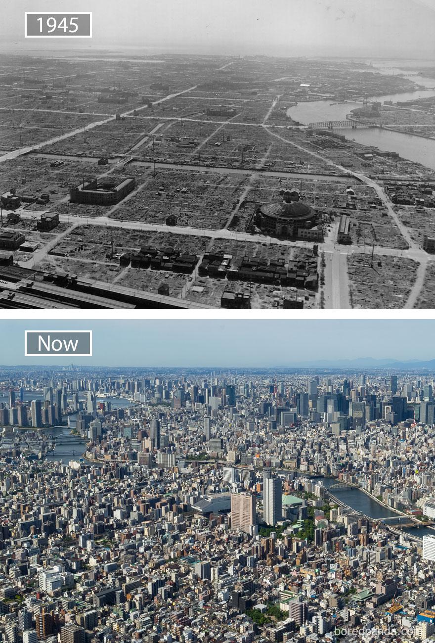5. Токио, Япония, в 1945 году и сейчас.
