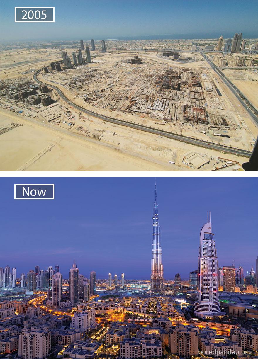 6. Дубай, ОАЭ, в 2005 году и сейчас.