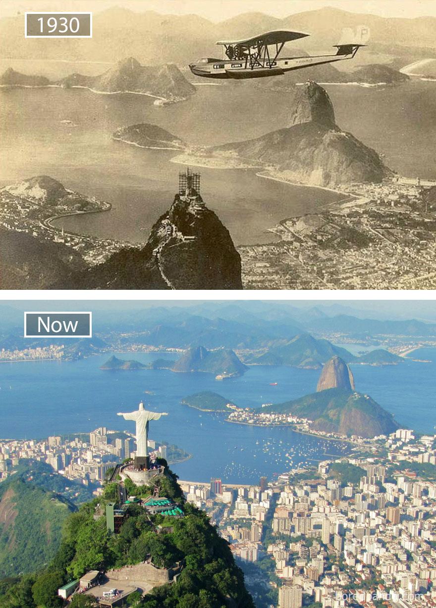 7. Рио-де-Жанейро, Бразилия, в 1930 году и сейчас.