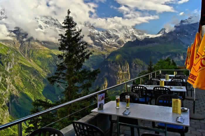 13. Ресторан отеля Edelweiss, горная деревня Мюррен, Швейцария.