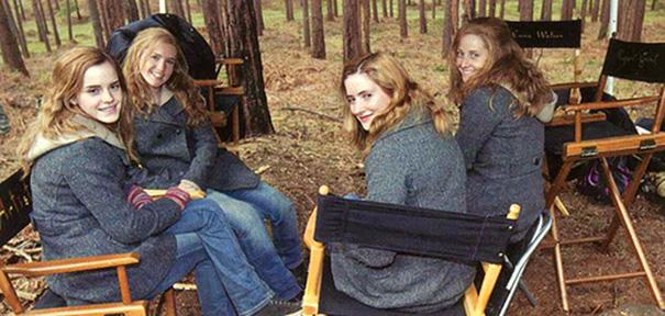 2. Эмма Уотсон и ее дублеры на съемках Гарри Поттера.