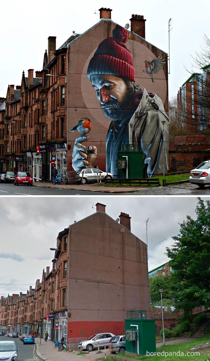7. Фотореалистичный рисунок в Глазго, Шотландия.