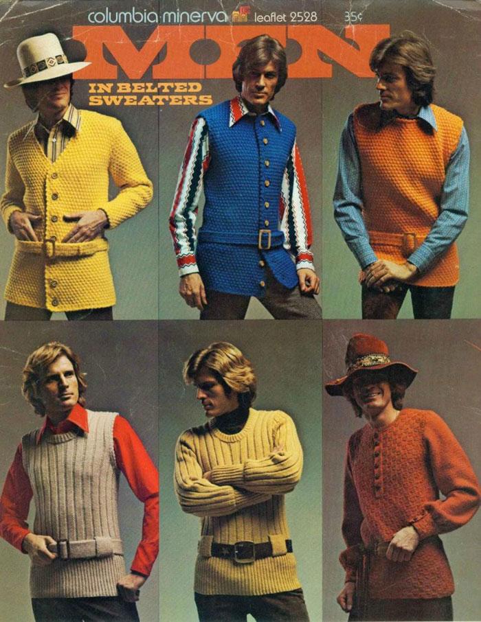 8. Мужские свитера очень часто комплектовались ремнями и поясами.