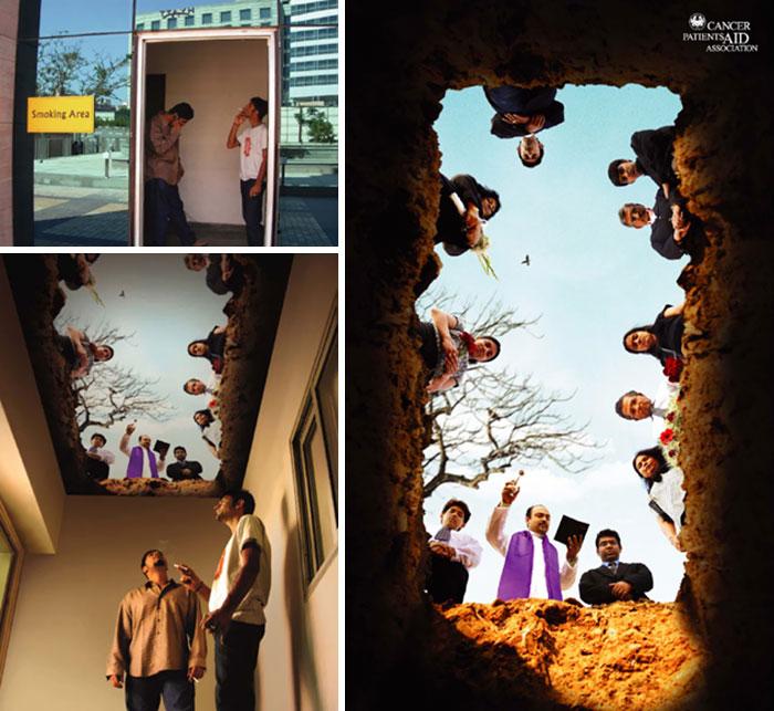 1. Курилка с потолком, принт которого создает эффект могилы, в которой находится курильщик.
