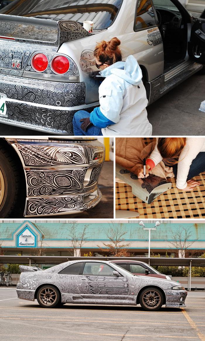 9. Рисунки на авто несмываемым маркером.