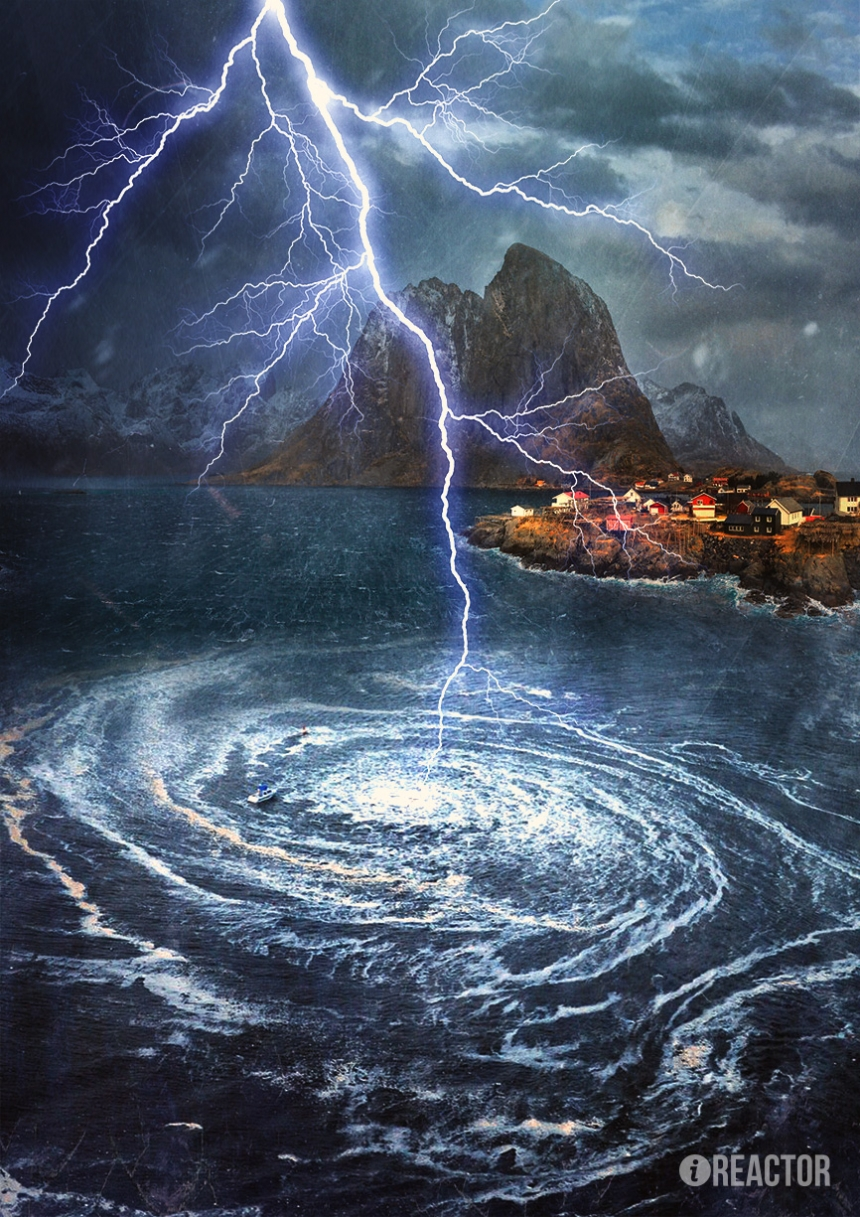 8. Водоворот Мальстрём. Водоворот в Норвежском море, возникающий вследствие взаимодействия отливных и приливных волн со сложным рельефом дна.