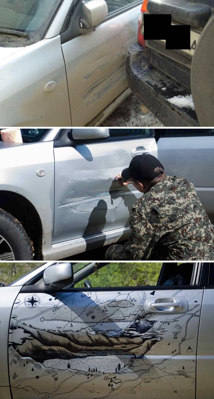 2. Креативный способ «починить» вмятину на авто.