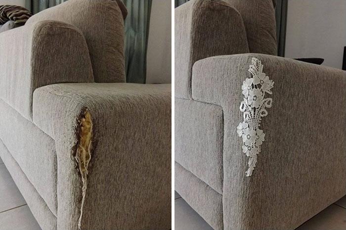 7. Ремонт кресла с помощью кружева.