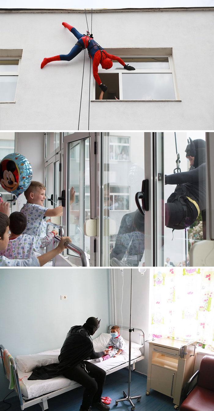 10. Албанские полицейские решили проведать детей в больнице, нарядившись супергероями.