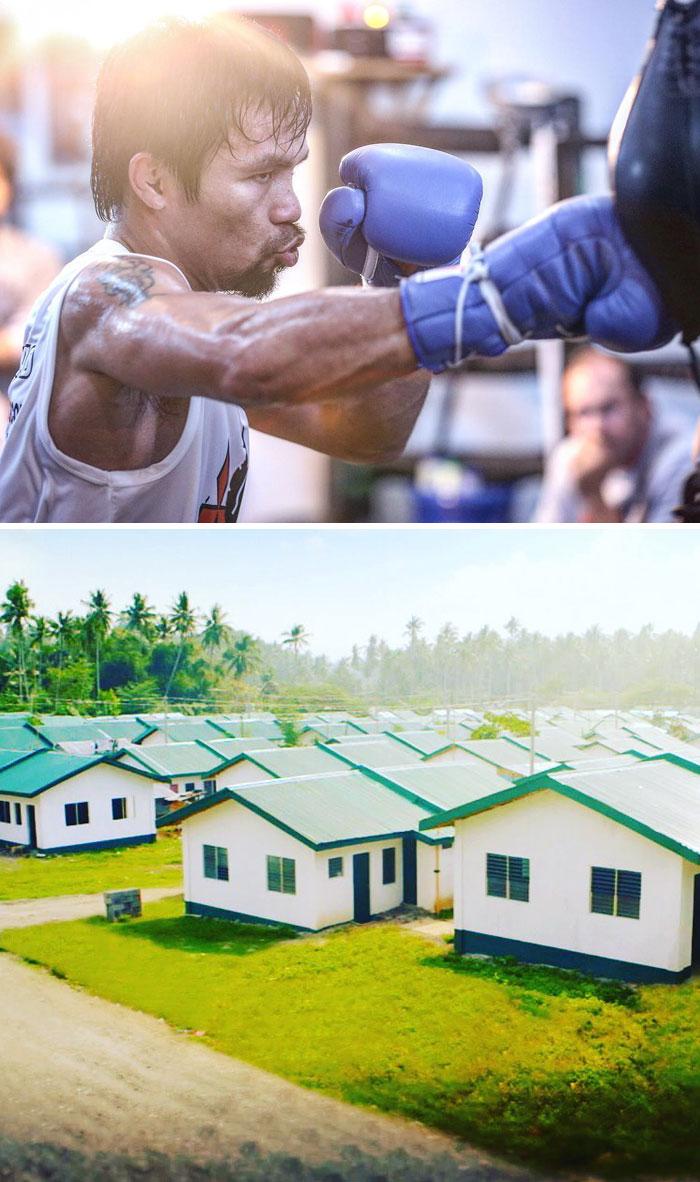 7. Чемпион мира по боксу Мэнни Пакьяо потратил выигранные деньги на строительство 1000 домов для бедных филиппинцев.