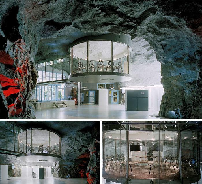 13. Офис Банхоф, построенный в бывшем атомном убежище, Стокгольм, Швеция.