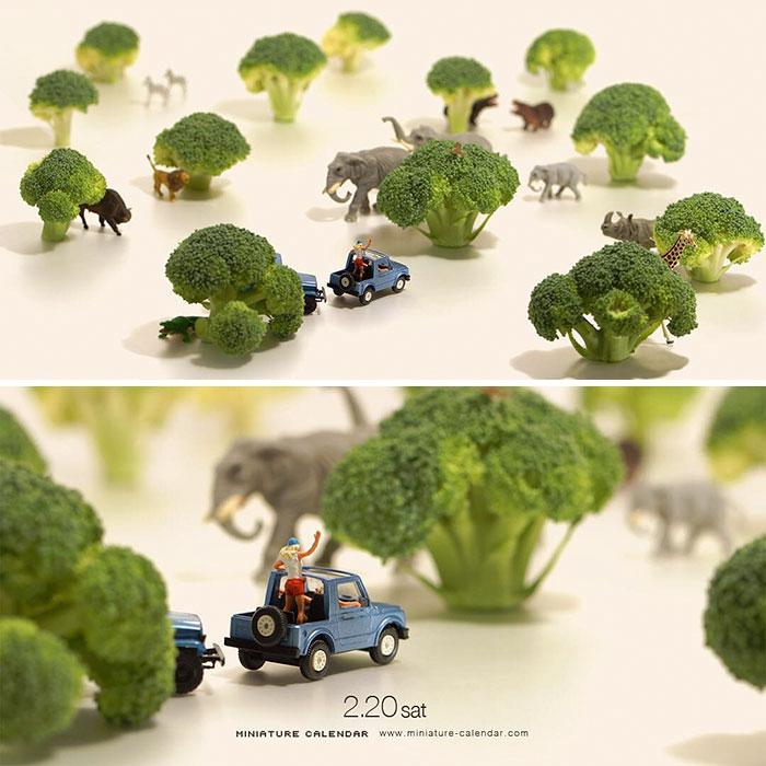 13. Брокколи, чтобы создать имитацию деревьев.