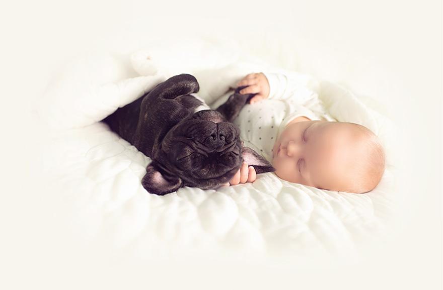 8. Вот такая удивительная дружба младенца и щенка. Недаром собак называют лучшими друзьями человека и лучшими няньками для ребенка, даже если собака сама еще является маленьким неуклюжим щеночком.