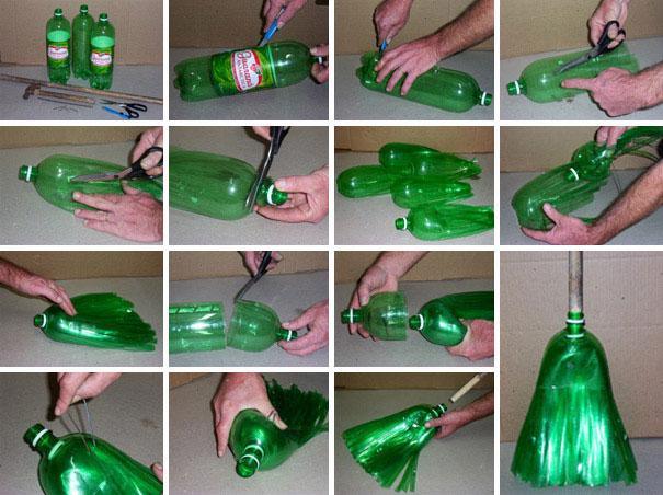 3. Хэнд-мейд проектов из пластика очень много. Создайте метлу из бутылок на зависть всем.